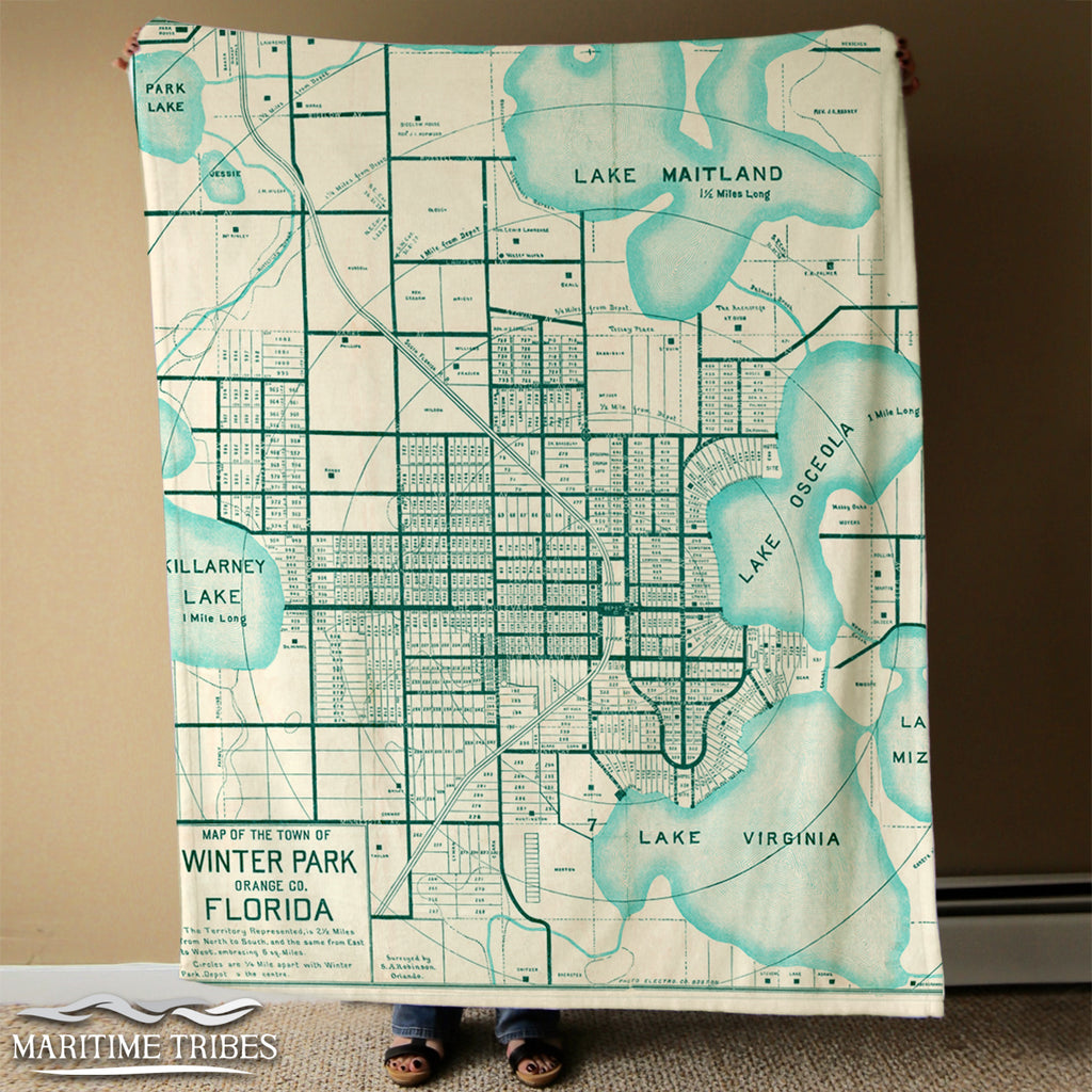 Winter Park, FL Vintage Map Blanket