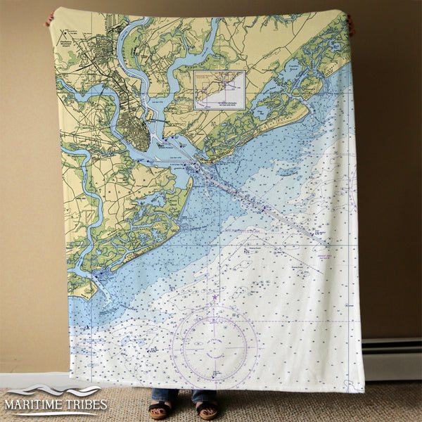 Charleston Chart Blanket (including James island and Isle of palms) Blanket