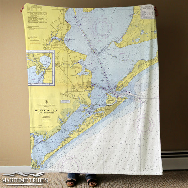 Galveston Bay Nautical Chart Blanket Blanket