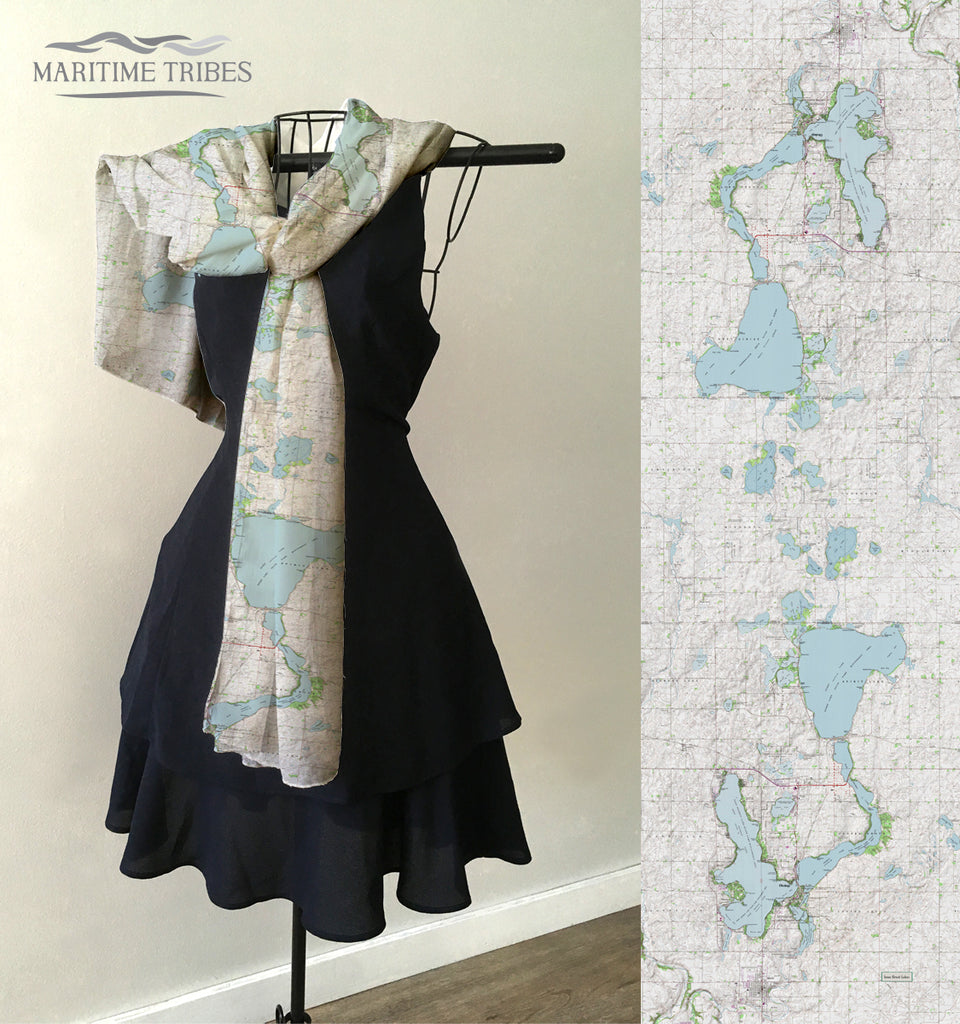 Iowa Great Lakes Vintage Topo Map Scarf