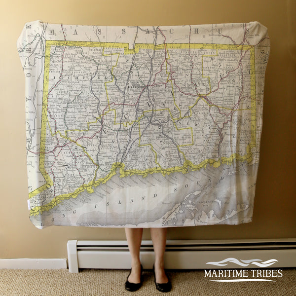 Connecticut Vintage State Map Blanket