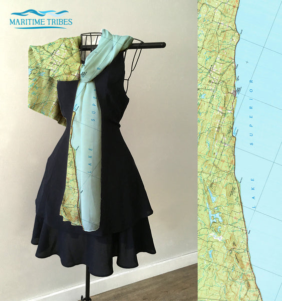 Grand Marais, MN Lake Superior Vintage Topo Map Scarf