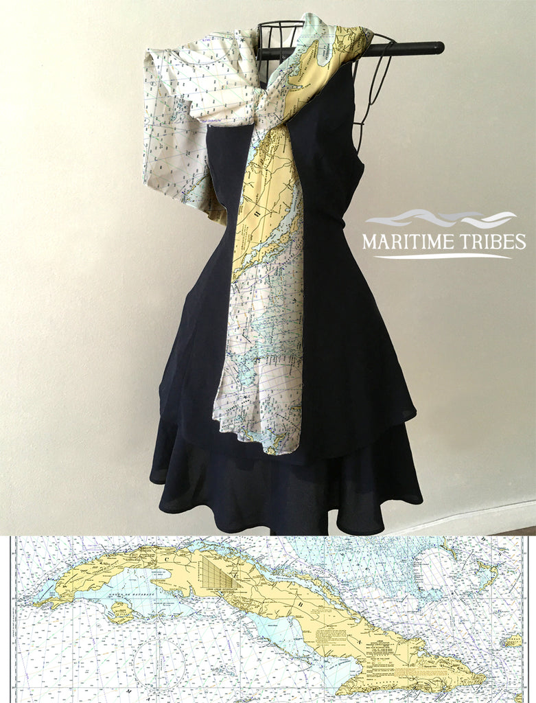Straits of Florida - Island of CUBA Map Scarf