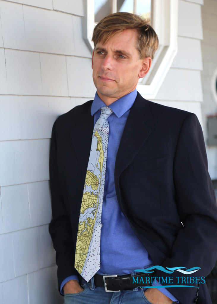 Sandy Hook & the Highlands, vintage Nautical Chart Tie
