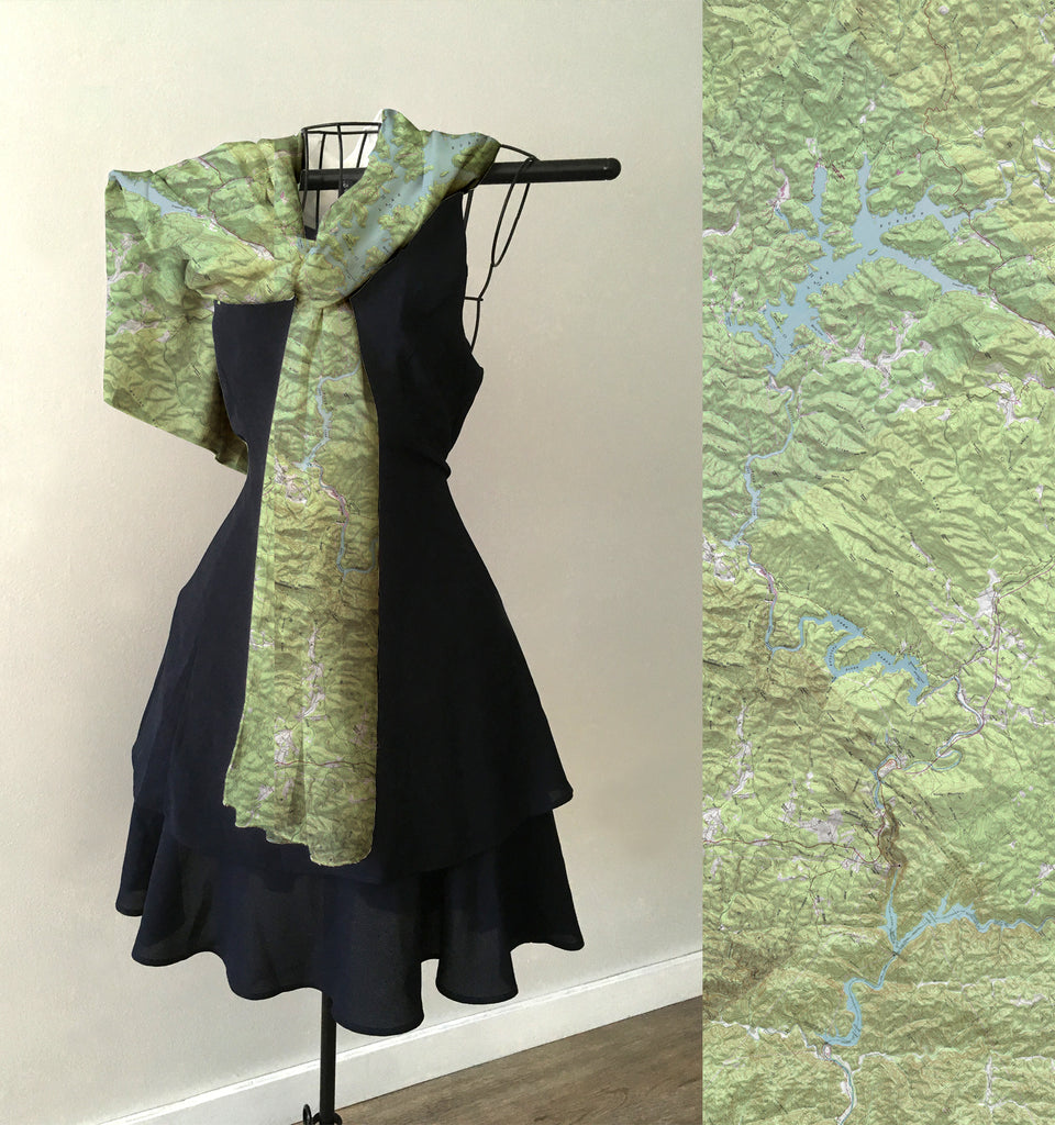 Rabun County Map Scarf