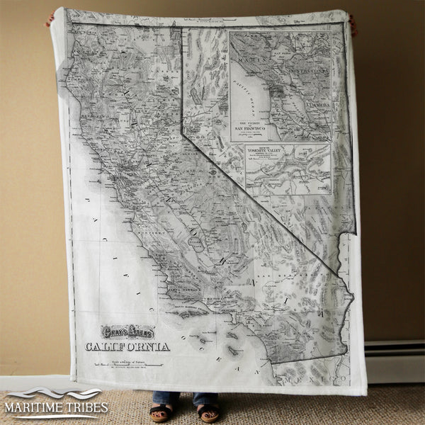 California Vintage State Map, b&w Blanket