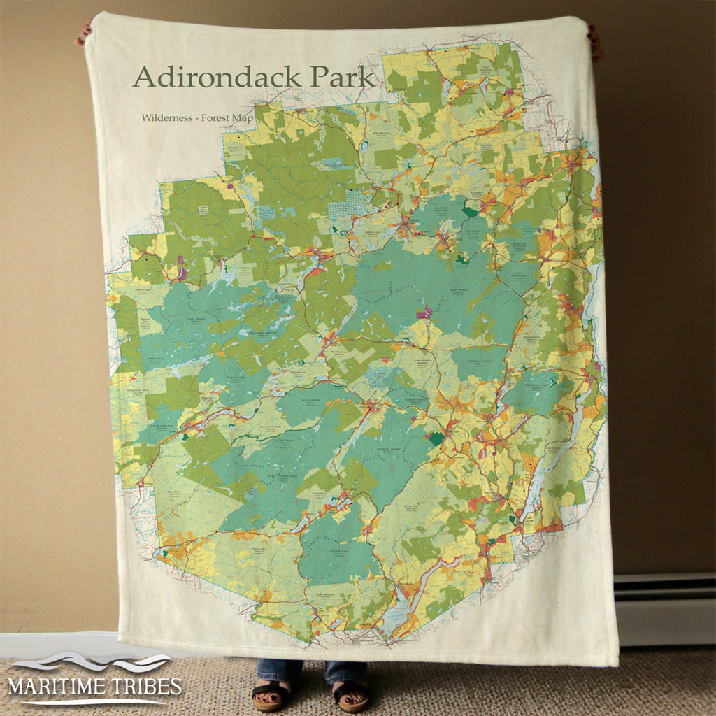 Adirondacks Vintage State Park Map, Wilderness map - 2018 Blanket
