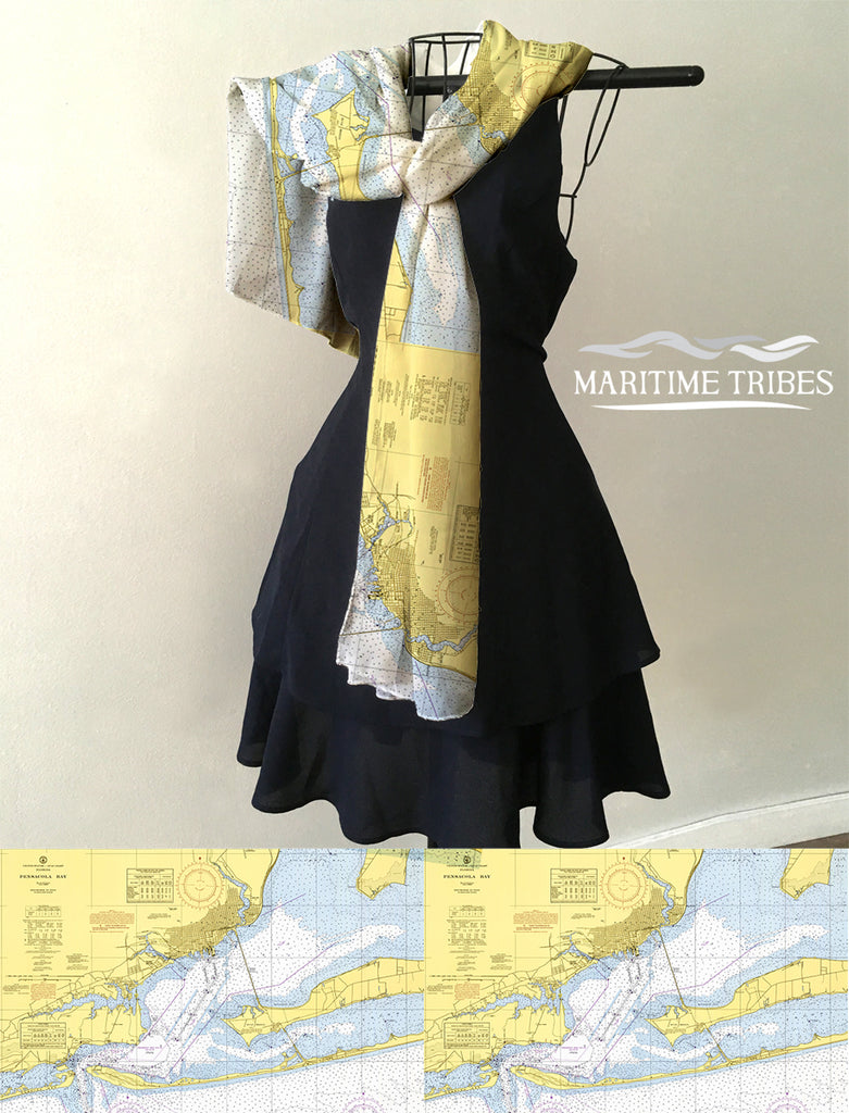 Pensacola, Fl Nautical Chart Scarf