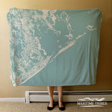 Grand Isle LA Sea Glass Map Blanket