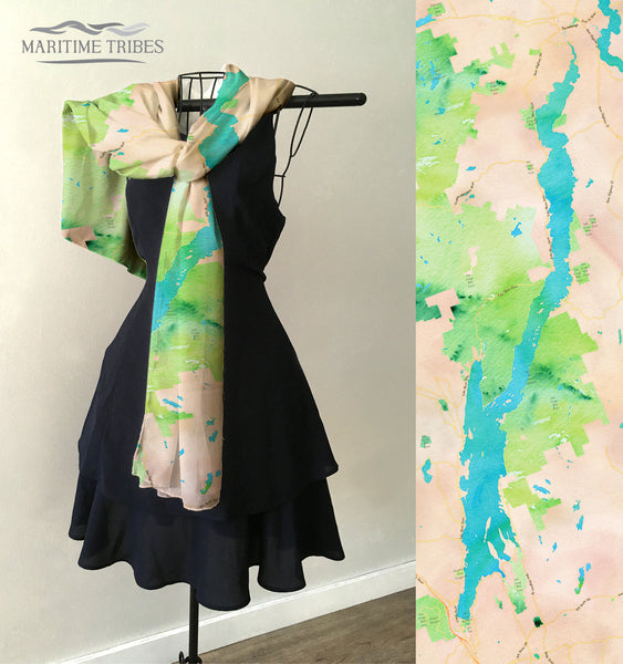Lake George Map Scarf