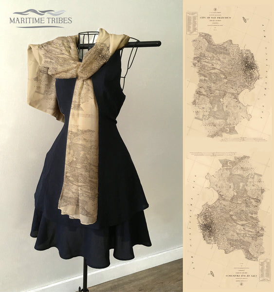 San Francisco, CA Vintage Map Scarf