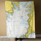 Falmouth - Scraggy Neck Vintage Nautical Chart Blanket