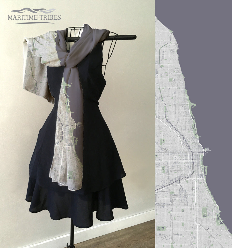 Chicago Tonal Pop Style Map Scarf