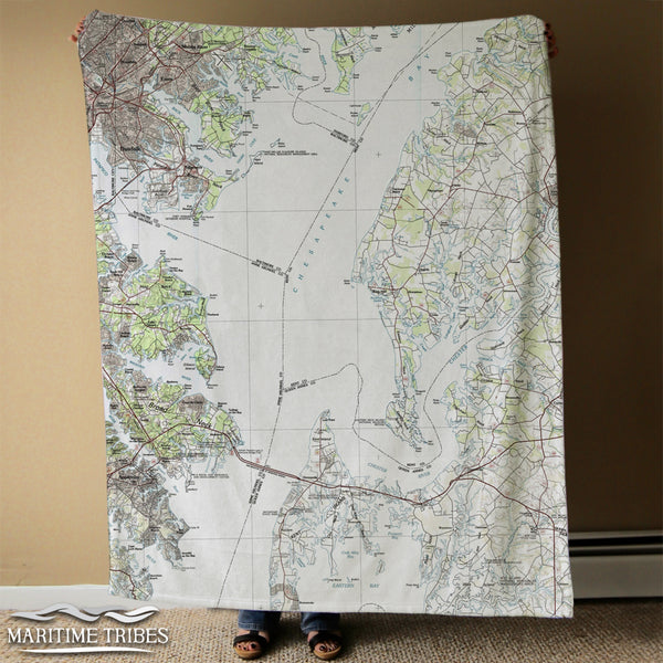 Rock Hall, MD Chesapeake Bay Vintage Topo Map Blanket
