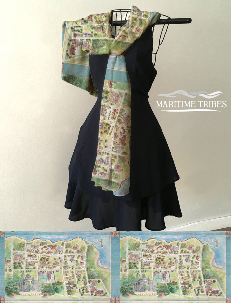 Salve Regina University watercolor Campus Map Scarf