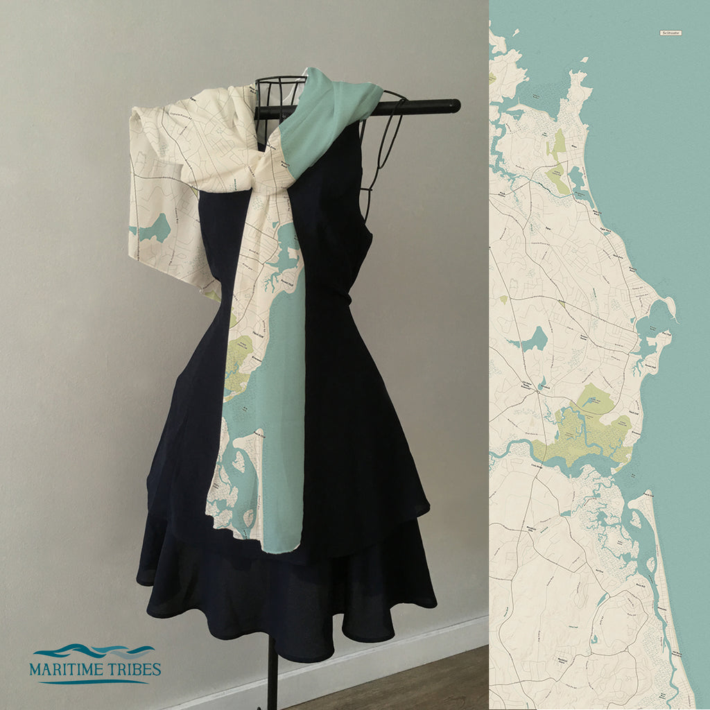 Scituate, MA Sea Glass Map Scarf