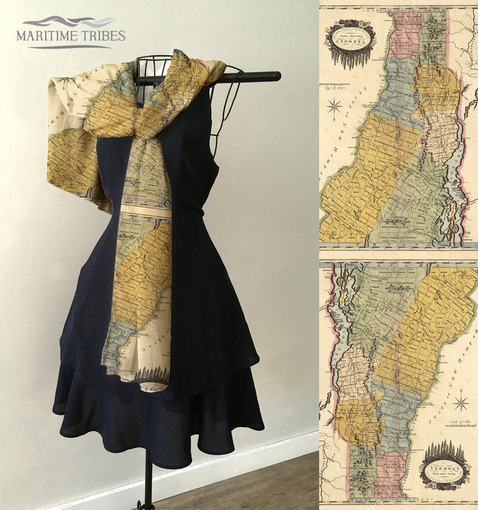 Vermont Vintage State Map Scarf