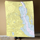Pawtuxet Village, RI Vintage Nautical Chart Blanket