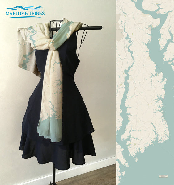 Northern Neck, Virginia Sea Glass Style Map Scarf