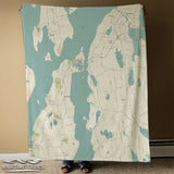 Portsmouth & Tiverton RI Sea Glass Map Blanket