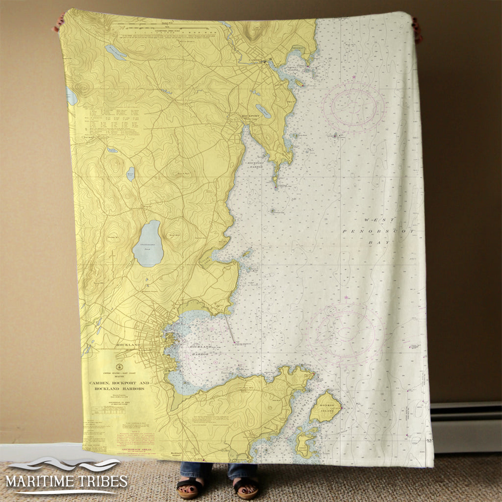 Camden, Rockport ME Nautical Chart Blanket