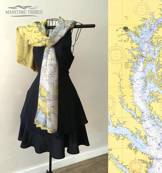 Serverna Park, MD, Chesapeake Bay nautical chart Scarf