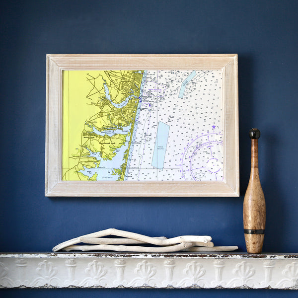 Mantoloking,  NJ Vintage Nautical Chart Framed Map