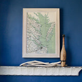 Chesapeake Bay Vintage Framed Map
