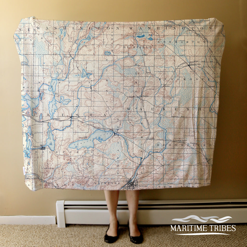 Pewaukee Lake Vintage Topo Map Blanket