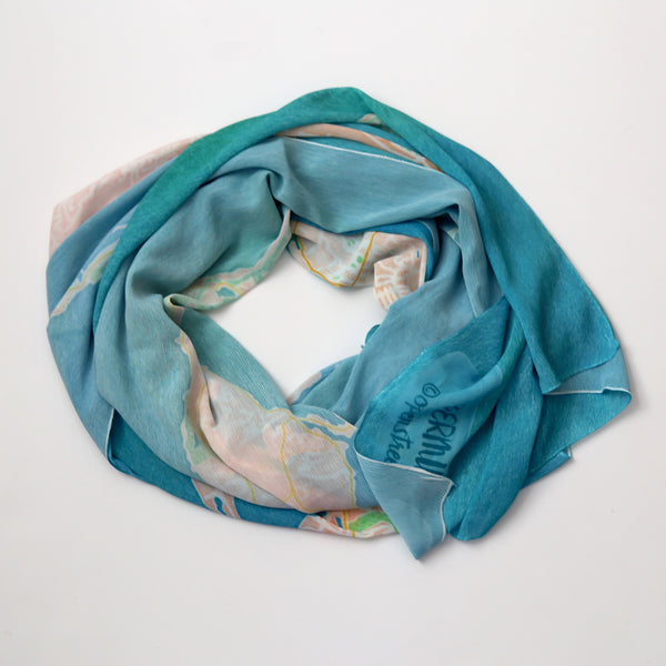 Bermuda Watercolor Map Scarf
