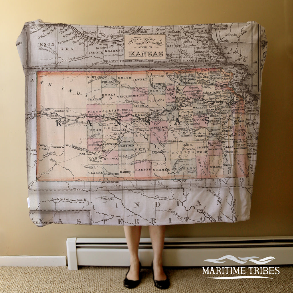 Kansas Vintage Map Blanket