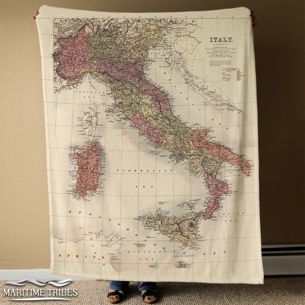 Vintage Italy Map Blanket