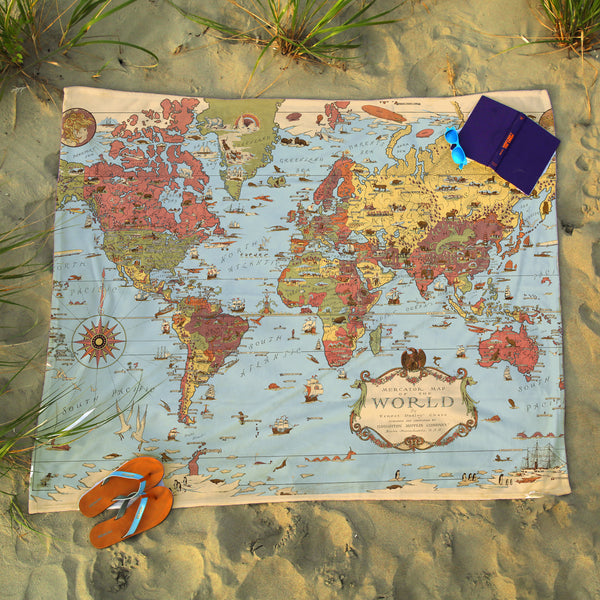 World Vintage Map Blanket