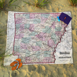 Arkansas Vintage Map Blanket