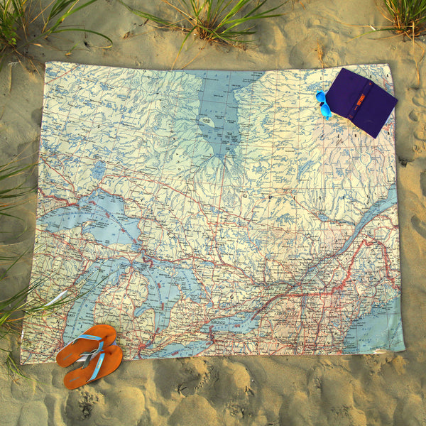 Ontario Vintage Map Blanket
