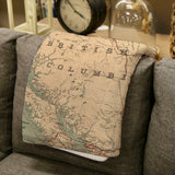 British Columbia Vintage Map Blanket