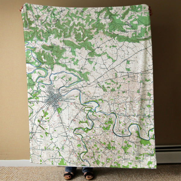 Bowling Green, KY Topographical Map Blanket