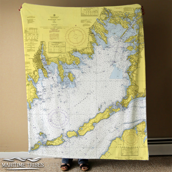 Buzzards Bay Nautical Chart Blanket (with Cuttyhunk)