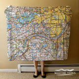 Minneapolis MN  Vintage Topo Map Blanket