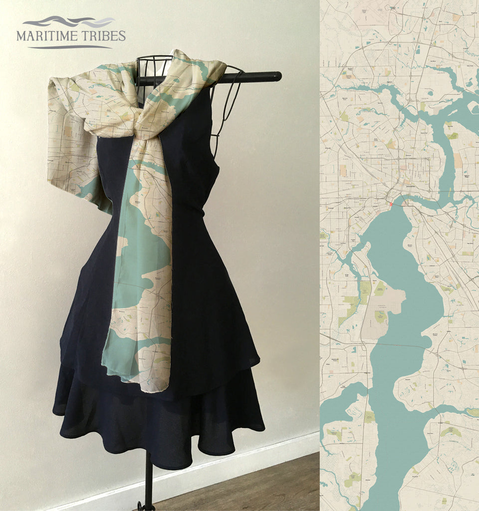 Jacksonville Area Seaglass Map Scarf