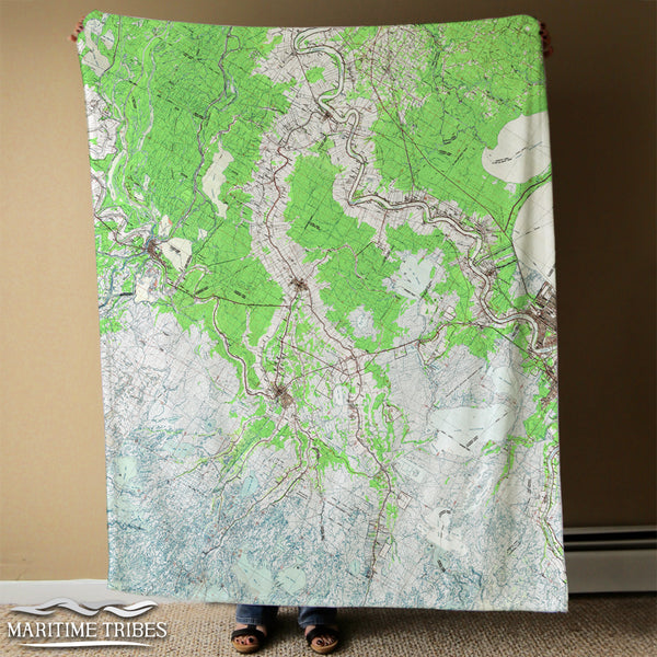 Lafourche Parish LA Vintage topo Map Blanket