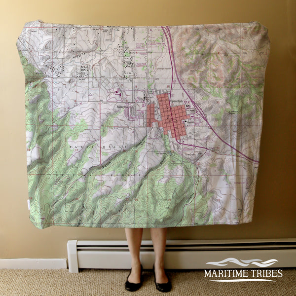 Spearfish, SD Vintage Topo Map Blanket