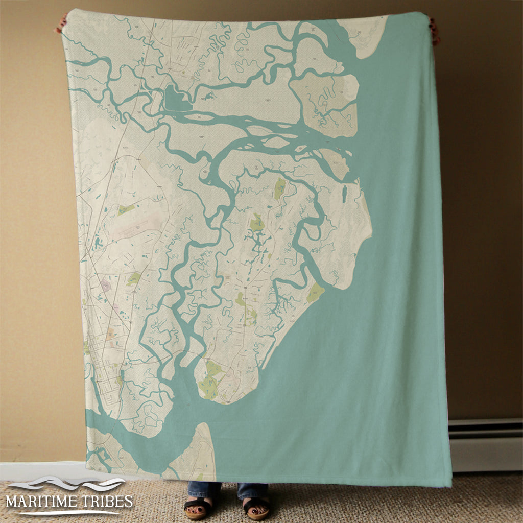 St. Simons Island, GA Sea Glass Style Map Blanket