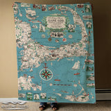 Cape Cod & The Islands, Vintage Picture Chart Blanket