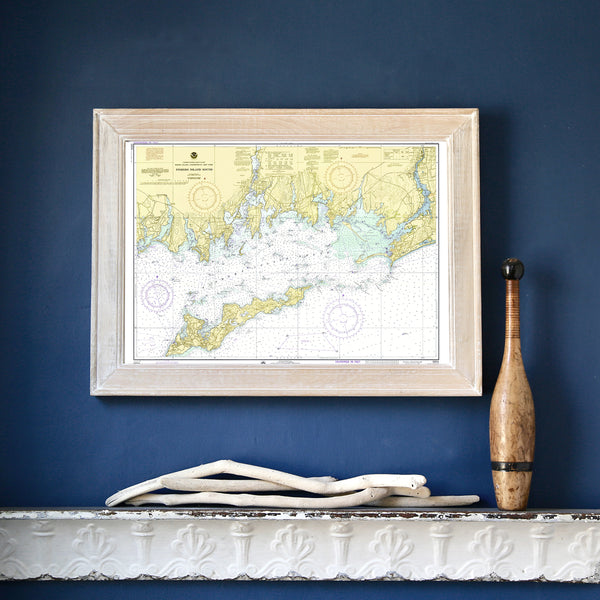 Fishers Island & Fishers Island Sound Chart, 1974 Framed Map
