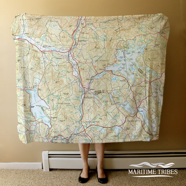 Squam Lake Topo Map Blanket Blanket