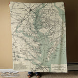 Chesapeake Bay, MD VA Transportation Lines Antique Map Blanket