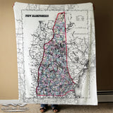 Vintage Map of the State of New Hampshire Blanket
