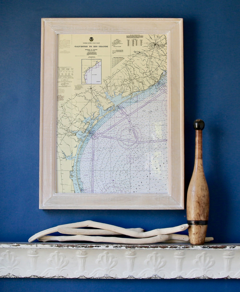 Rockport, Coastal TX Vintage Nautical Chart Framed Map