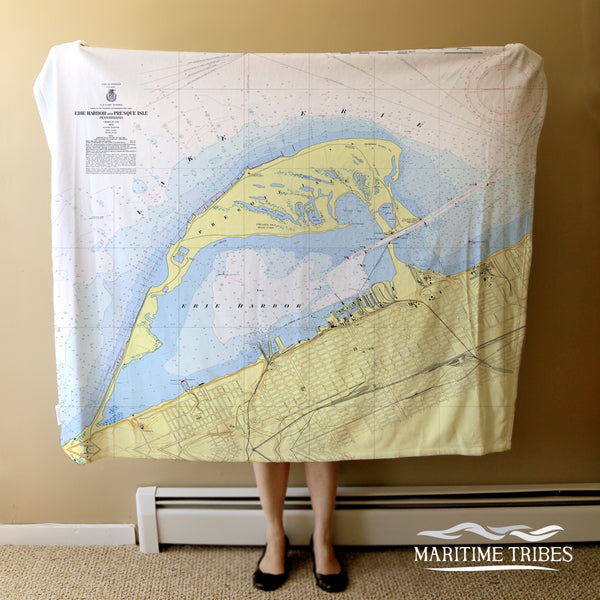 Presque Isle, PA Nautical Chart Blanket